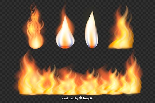 Set di fiamme di fuoco realistico Vettore gratuito