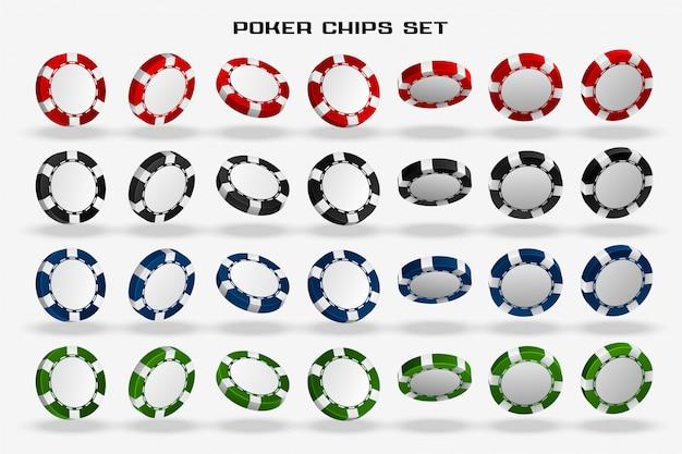 Set di fiches da poker casinò 3d Vettore gratuito