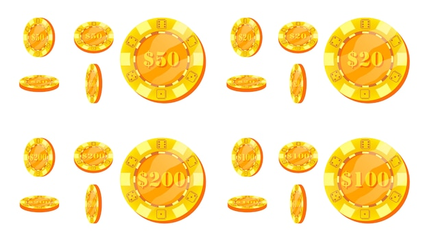 Set di fiches da poker Vettore Premium