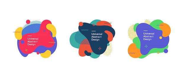 Set di figure fluide colorate astratte Vettore gratuito