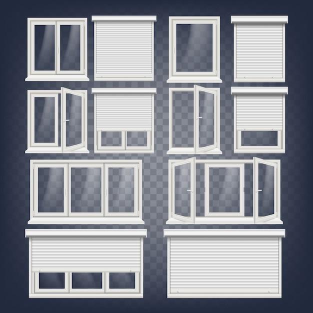 Set di finestre in plastica pvc Vettore Premium