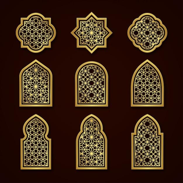 Set di finestre ornamentali arabe d'oro Vettore Premium