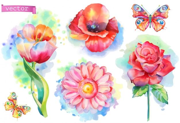 Set di fiori primaverili. vettore dell'acquerello Vettore Premium