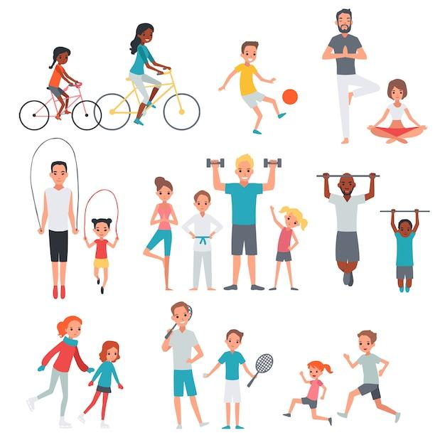 Set di fitness piatto persone Vettore gratuito