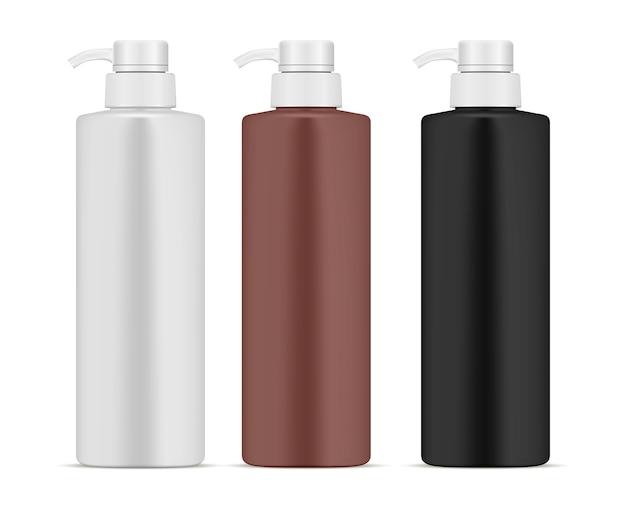 Set di flaconi per dispensatore di pompaggio. prodotto cosmetico 3d can Vettore Premium
