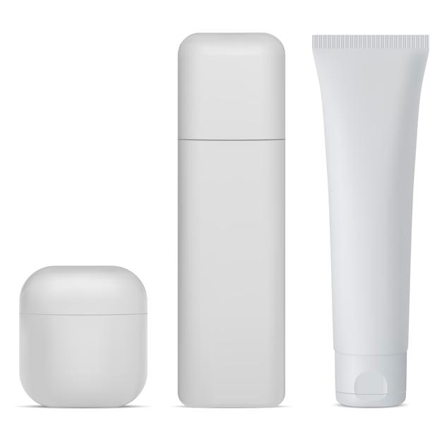 Set di flaconi per la cosmetica. crema bianca, confezione di lozione Vettore Premium
