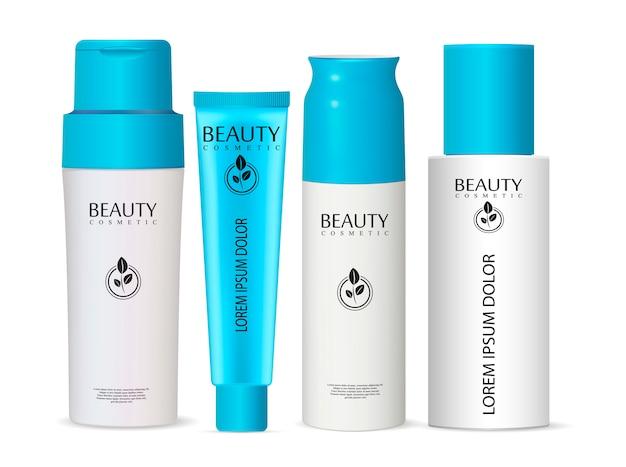 Set di flaconi per la cosmetica di flacone di flacone per crema da Vettore Premium