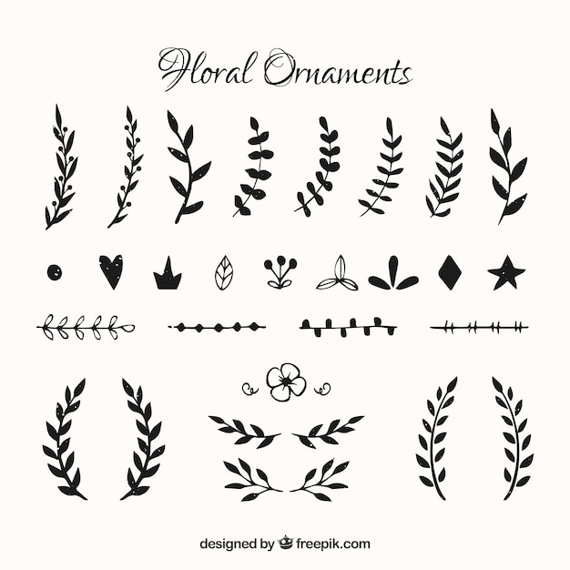 Set di foglie decorative d'epoca Vettore gratuito