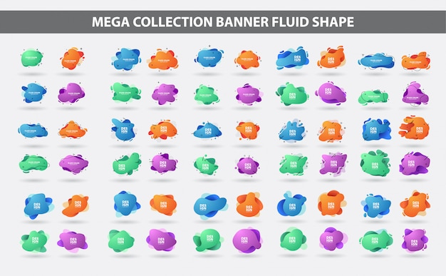 Set di forma geometrica gradiente fluido Vettore Premium