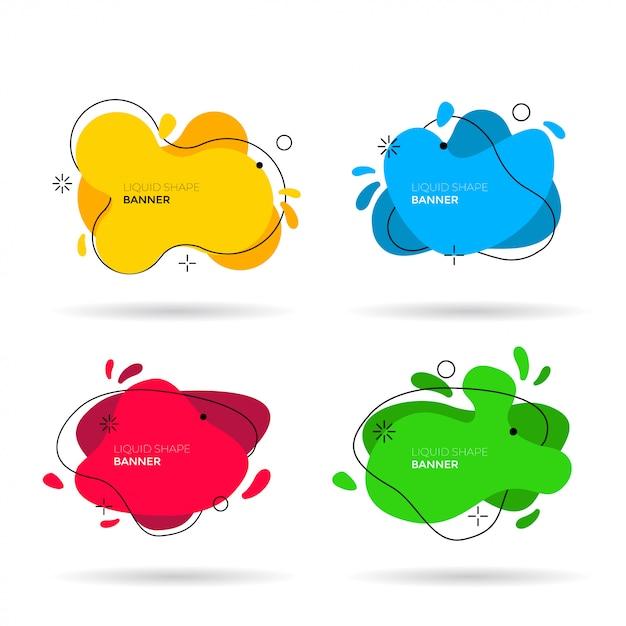 Set di forme di colori liquidi. illustrazione vettoriale elementi di design grafico modelli di etichette minimali moderni. striscioni colorati astratti forme futuristiche dinamiche per il branding Vettore Premium