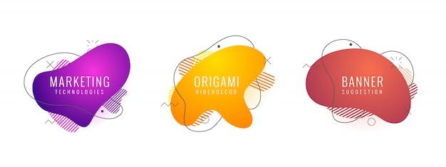 Set di forme geometriche astratte di colore liquido Vettore Premium