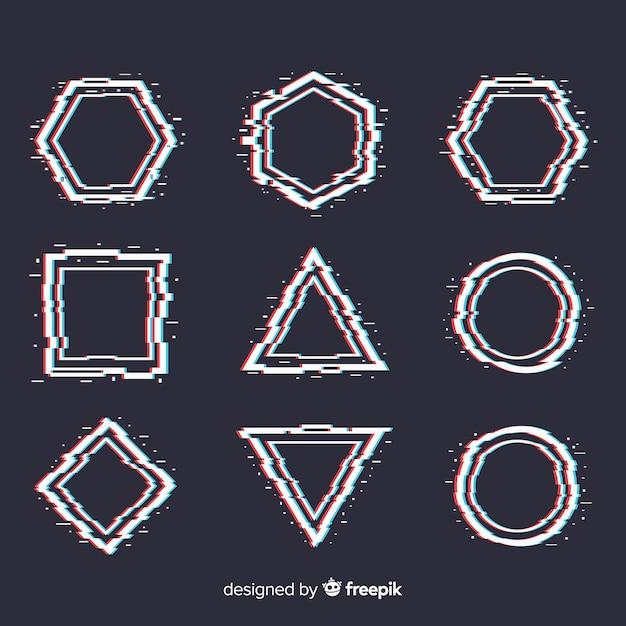 Set di forme geometriche glitch Vettore gratuito