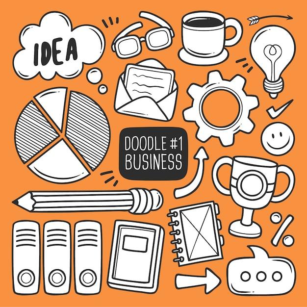Set di forniture per ufficio doodle Vettore gratuito