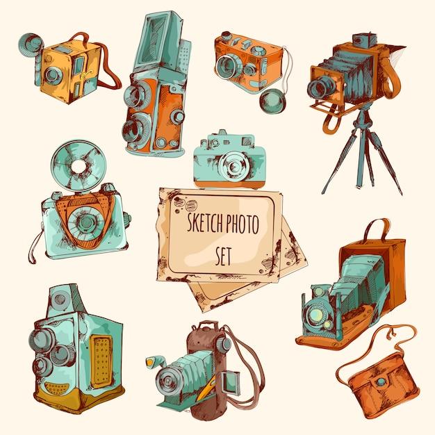 Set di foto colorate di schizzo Vettore gratuito