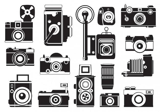 Set di foto di fotocamere retrò. Vettore Premium