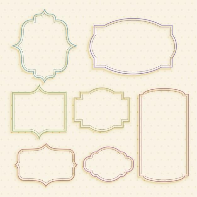 Set di frame di etichette vintage vuoto classico Vettore gratuito