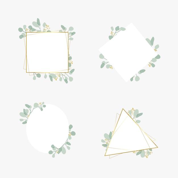 Set di frame per matrimoni botanici Vettore gratuito