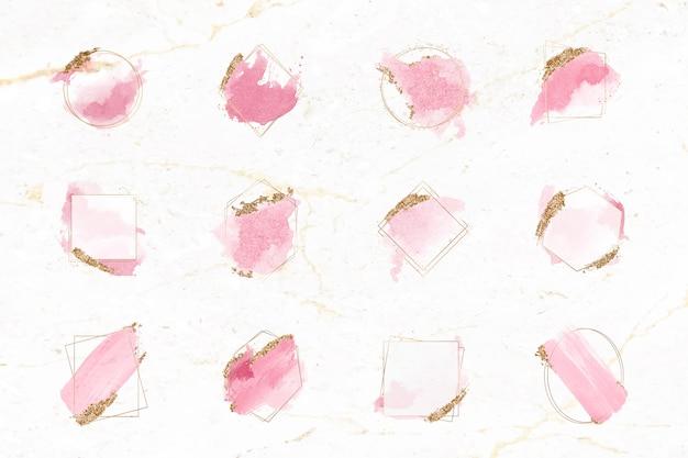 Set di frame per pennelli rosa e oro Vettore gratuito