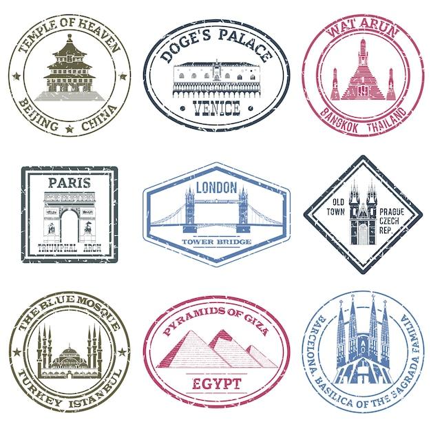 Set di francobolli di monumenti Vettore gratuito