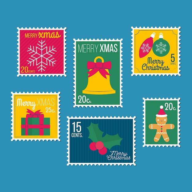 Set di francobolli di natale design piatto Vettore gratuito