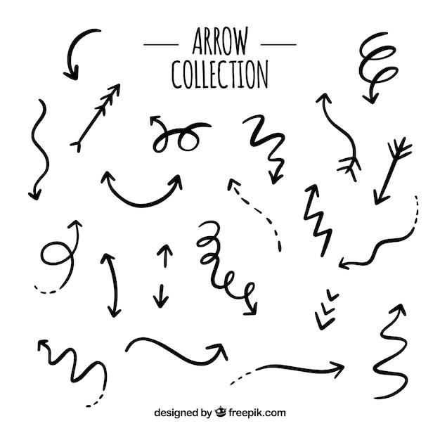Set di frecce per segnare in mano disegnato stile Vettore gratuito