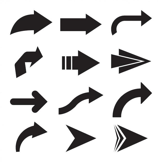 Set di frecce vettoriali nero. icona della freccia. icona di vettore di freccia. freccia. collezione di frecce vettoriali Vettore Premium