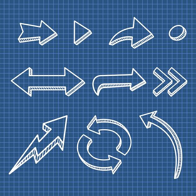 Set di freccia disegnata a mano elemento di design Vettore Premium