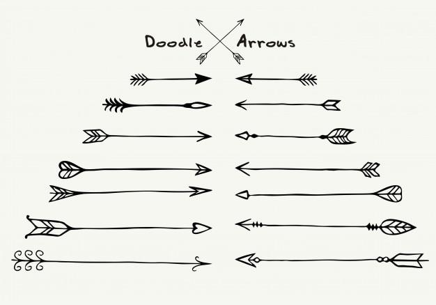 Set di freccia diversa disegnata a mano Vettore Premium