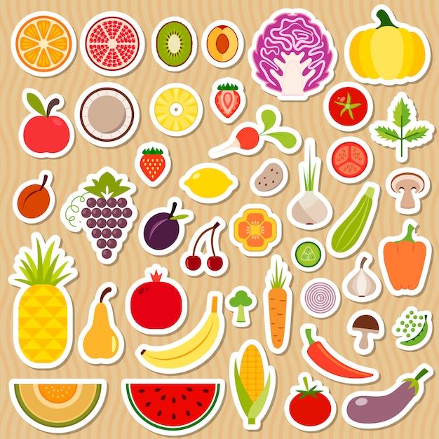 Set di frutta e verdura Vettore Premium
