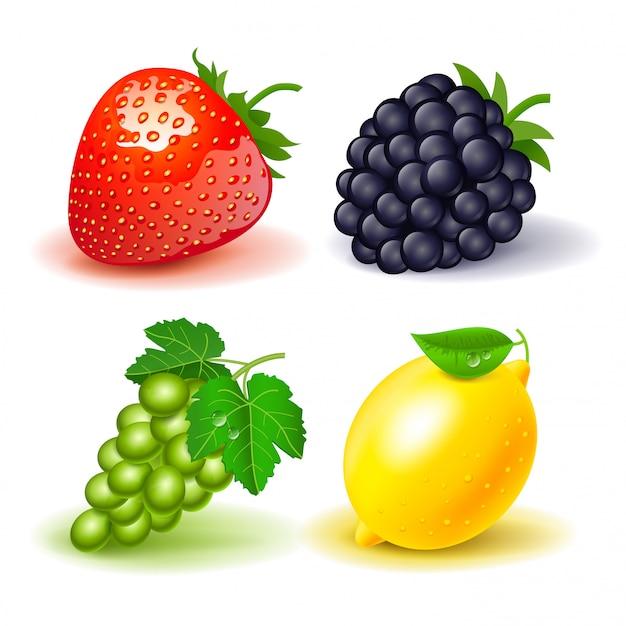Set di frutta: fragole, blackberry, uva e limone. isolato Vettore Premium