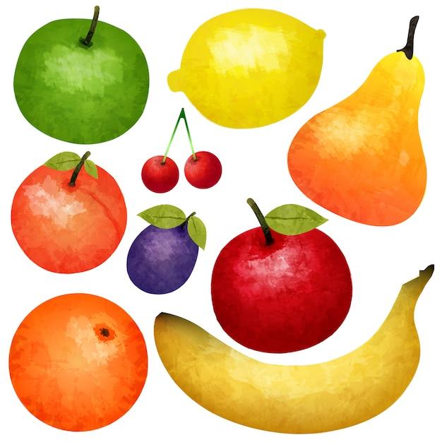 Set di frutta matura dell'acquerello Vettore gratuito