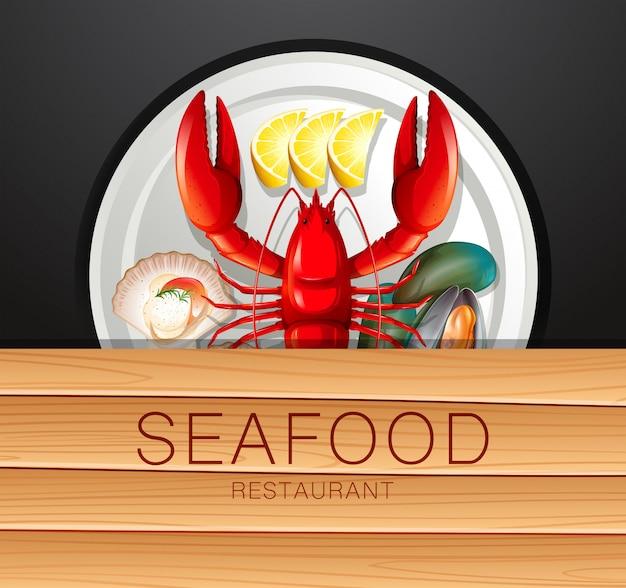 Set di frutti di mare sul piatto Vettore Premium