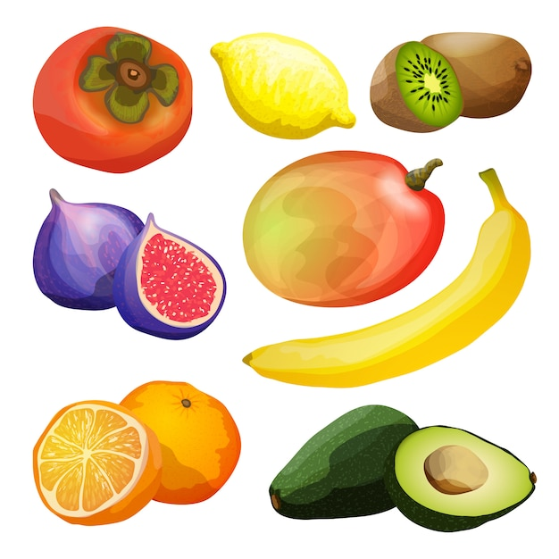 Set di frutti esotici Vettore gratuito