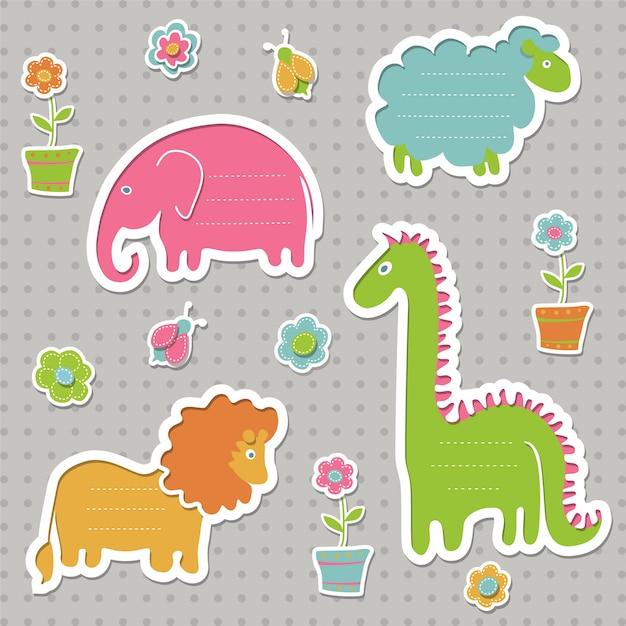 Set di fumetti per bambini. raccolta di graziose cornici di testo a forma di animali. Vettore Premium