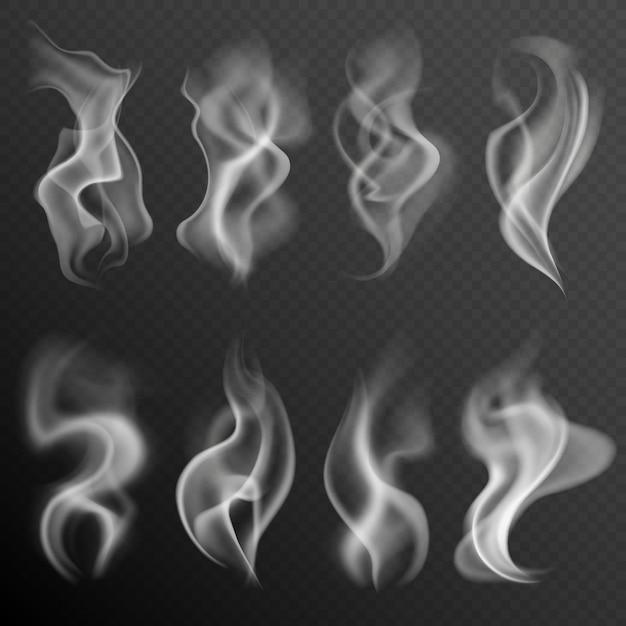 Set di fumo realistico Vettore Premium