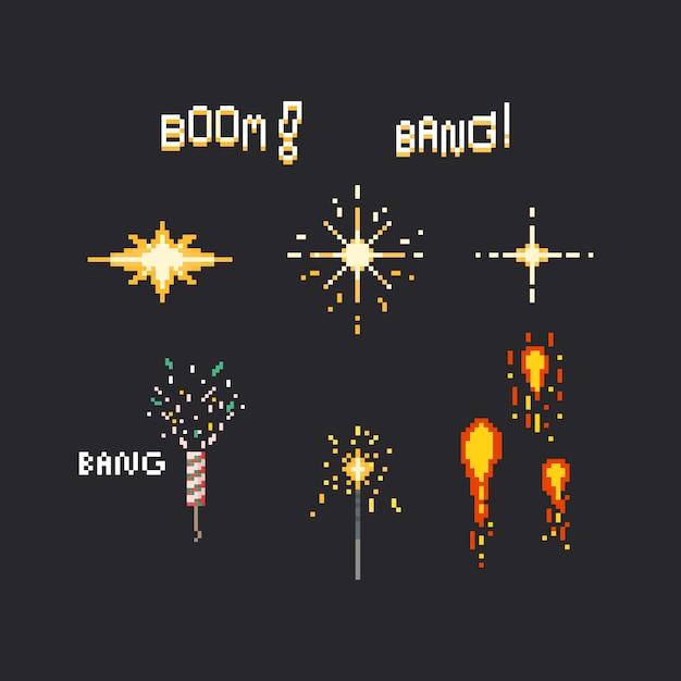 Set di fuochi d'artificio di pixel Vettore Premium