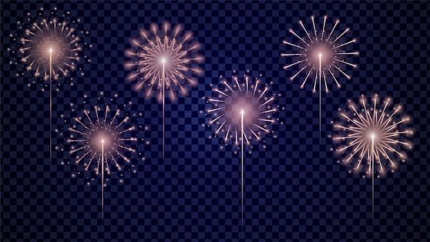 Set di fuochi d'artificio vettoriale realistico Vettore Premium