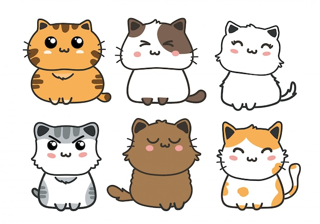 Set di gatti carini. Vettore Premium