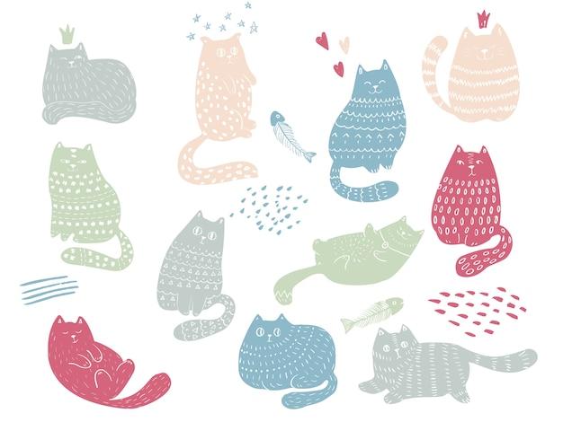 Set di gatti divertenti doodle. simpatici animali domestici personaggi ed emozioni. perfetto per cartolina, san valentino, anniversario, compleanno, baby book. Vettore Premium