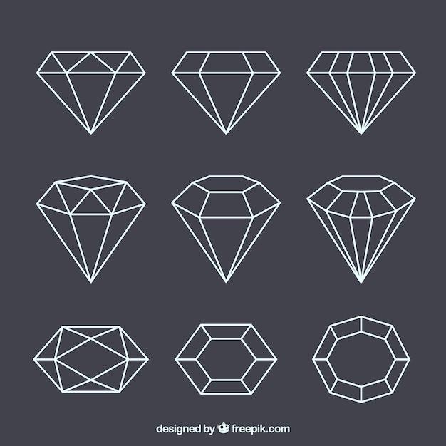 Set di gemme lineari Vettore gratuito