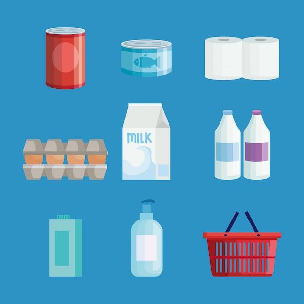 Set di generi alimentari di mercato impostato Vettore Premium