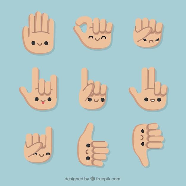 Set di gesti con belle mani Vettore gratuito