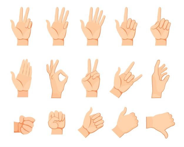 Set di gesti delle mani umane Vettore gratuito