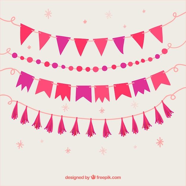 Set di ghirlande con tonalità del viola e rosa Vettore gratuito