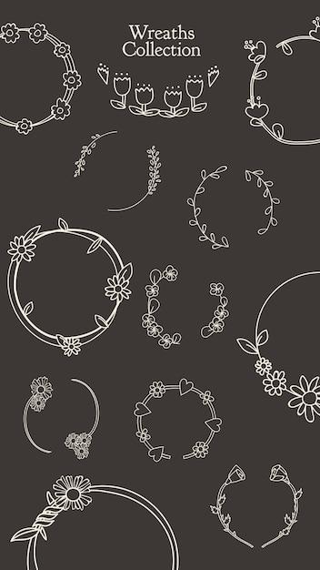 Set di ghirlande floreali botanico Vettore gratuito