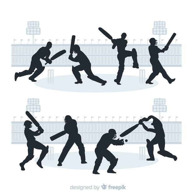 Set di giocatori di cricket con stile silhouette Vettore gratuito