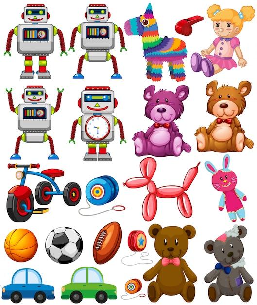 Set di giocattoli diversi Vettore gratuito