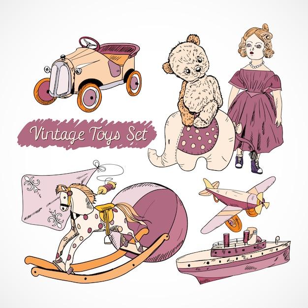 Set di giocattoli per bambini disegnati a mano Vettore gratuito