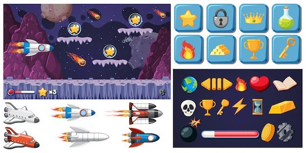 Set di gioco spaziale Vettore gratuito