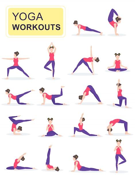Set di giovane donna eseguendo esercizi fisici. Vettore Premium